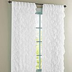 Cascade White 63″ Shabby Chic Sheer Ruffled Curtain Panel