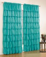 Mk Collection Gypsy Crushed Ruffle Sheer Curtains – 58″ Width By 63″ Inch Length Turquoise