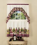 Achim Home Furnishings Chardonnay Tier and Swag Set, 57-Inch by 36-Inch, Burgundy