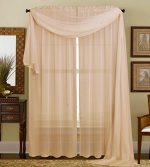 Qutain Linen Solid Viole Sheer Curtain Window Panel Drapes (55″ x 84 Inch, Taupe)