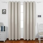 Deconovo Curtains Grommet Top Blackout Curtains Window Treatment Set with Silver Coating for Bedroom 52 By 84 Inch Light Beige 1 Pair