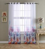 MYSKY HOME Top Grommet Window Fiori Print Sheer Curtain Panels for Living Room, Purple – 54″W x 84″L – (Set of 2 Panel)