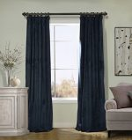COFTY Solid Matt Luxury Heavyweight Velvet Curtain Drape with Blackout Thermal Lining Midnight Blue 50Wx108L Inch (1 Panel) – Flat Hooks Heading for Track