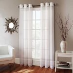 Gorgeous Home 1 Faux Silk Window Curtain Panel 55″ by 84″ Inch Solid White 8 Bronze Grommets Mira