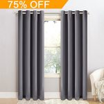 BLC Window Treatment Thermal Insulated Solid Grommet Blackout Curtains / Drapes for Bedroom (Set of 2 Panels,52 x 95 inch, Dark Grey)