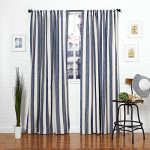 Homier Navy Blue Striped Linen Blend Window Curtain/drape/panel/treatment/covering – Rod Pocket Panel – Nautical Wide Denim Stripes on Modern White/Cream Linen – 50 x 84 Inches, 2 Panels Pair
