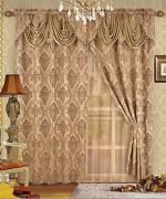 Fancy Collection Luxury Embroidered Curtain Set 4 Piece Gold Drapes with Backing & Valance & Tie Backs # B-438