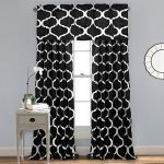 Lush Decor Geo Blackout Window Curtain, 84 by 52-Inch, Black, Set of 2