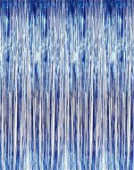 Metallic Blue Foil Fringe Shiny Curtains for Party, Prom, Birthday, Event Decorations 3 ft x 8 ft (1 Curtain) by Super Z Outlet
