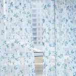DZT1968® 1PC Floral Lace Tulle Sheer Window Treatments Door Scarf Screen Curtain (80 inch x 40 inch) (Blue)