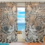 INGBAGS Bedroom Decor Living Room Decorations Leopard Pattern Print Tulle Polyester Door Window Gauze / Sheer Curtain Drape Two Panels Set 55×78 inch ,Set of 2