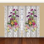 Better Curtains 108-Inch-by-90-Inch 2 Panel Flower Bouquet Curtain, Purple / Gray