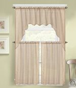 GorgeousHomeLinen (K66) 3 PC Taupe Voile Rod Pocket Window Kitchen Sheer Curtain Set 2 Tier Panels & 1 Swag Valance, Various Solid Colors