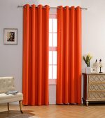 MYSKY HOME Solid Grommet top Thermal Insulated Window Blackout Curtain for Bedroom, 52 by 84 inch, Orange (1 panel)