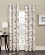 No. 918 Tilda Scroll Print Grommet Curtain Panel, 48″ x 84″, Natural Tan