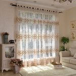 """AUSWIND Flora Pattern Grommet Top Sheer Curtains Fabric Drapes one Panel for Living Room Custom Size (52"""" W 84"""" H, Orange)"""