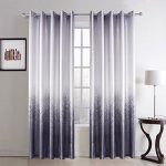 Leyden Grommet Top Minimalist Light Purple Forest Print Polyester Curtain Drapes Multi Size Available Custom (One Panel) 42Wx63″L