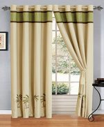 4 – Piece Sage Green / Beige / Brown Tropical PALM TREE Embroidered Grommet Luxury curtain set Drapes / Window Panels 120″ Wide X 84″ Tall