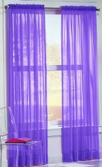No. 918 Calypso Sheer Voile Rod Pocket Curtain Panel, 59″ x 63″, Purple
