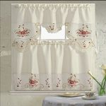 B&H Home Blossom Floral Embroidered 3-Piece Kitchen Curtain Window Treatment Set (Blossom Flower)