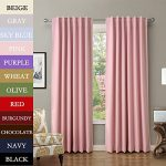 "TWOPAGES Solid Back Tab / Rod Pocket Curtain Panel Drape Blackout Curtain 120 "" W x 63 "" L, Pink, 1 Panel"