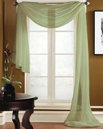 Gorgeous Home 1 PC SOLID SAGE GREEN SCARF VALANCE SOFT SHEER VOILE WINDOW PANEL CURTAIN 216″ LONG TOPPER SWAG