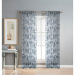 Window Elements Ashville Printed Extra Wide 54 x 84 in. Rod Pocket Sheer Curtain Panel, Grey