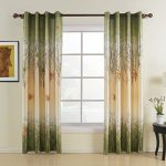 Leyden Grommet Top Print Country Green Maple Leaf Lined Curtain Drapes Multi Size Available Custom (One Panel) 42Wx84″L