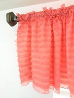 Ruffled Valance Curtain Extra Wide and Short Window Treatment Shabby Chic 1″ Ruffles – Tier Sheer and Wrinkle Free – Kitchen Living Dining Room Bathroom Kids Girl Baby Nursery Bedroom Light Coral